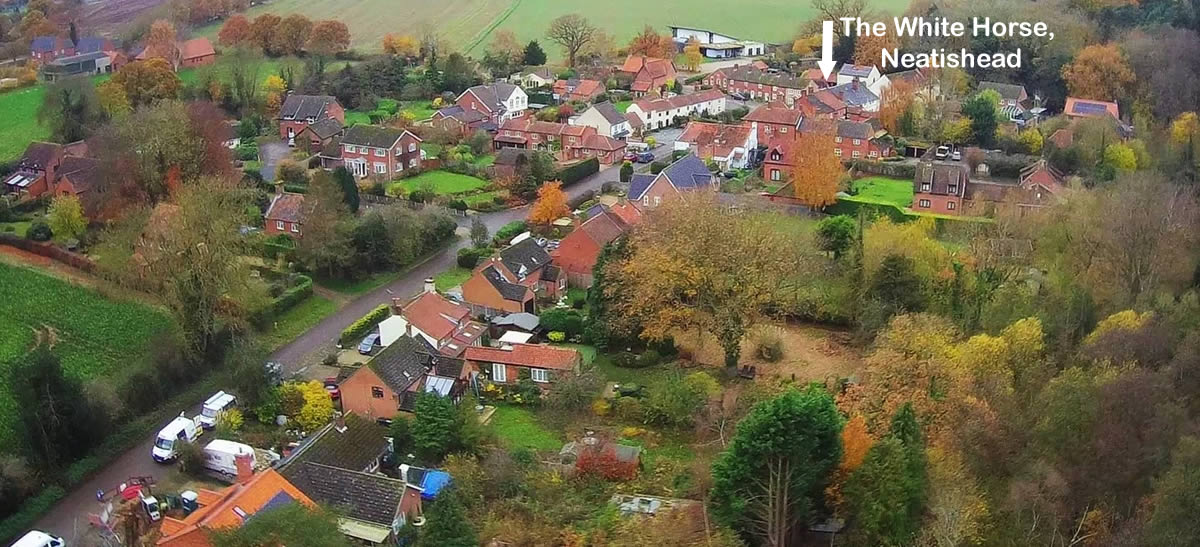 Aerial view of Neatishead village centre